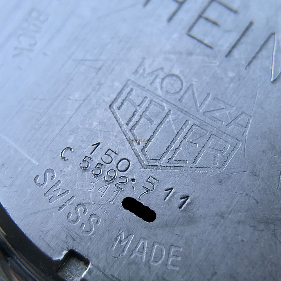 Heuer Monza 150.511 Chrome-Plated - engravings on the case back