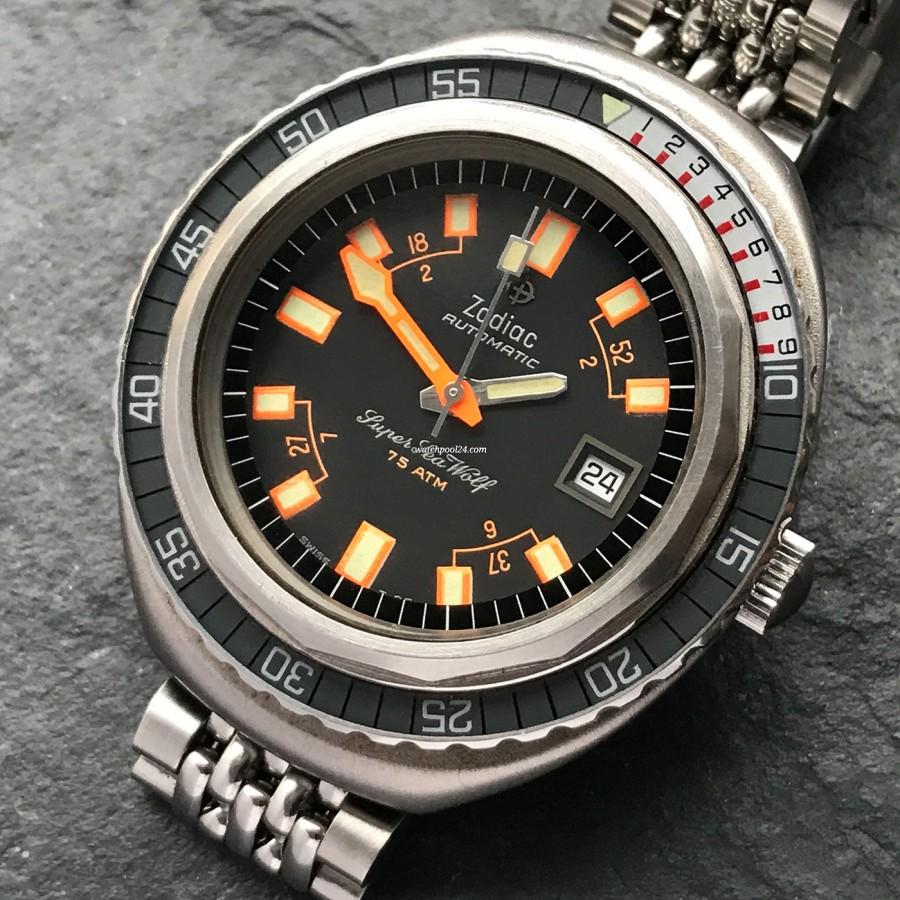 Zodiac Super Sea Wolf - Diver's Watch - ovales Gehäuse, drehbare Bakelite-Lünette