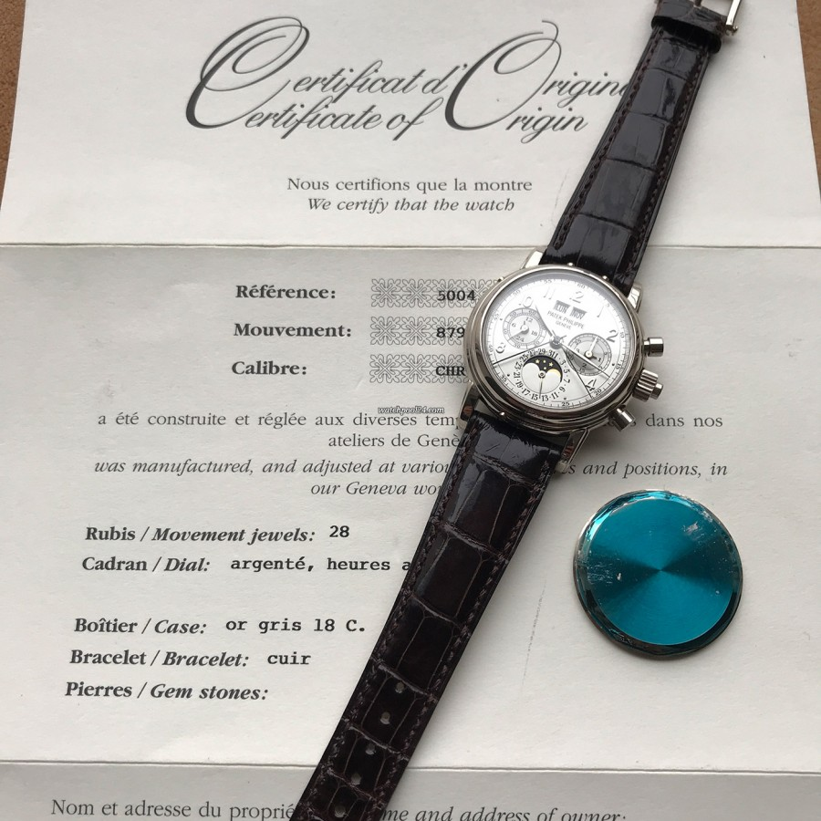 Patek Philippe Grand Complications 5004G - the certificate of origin and exchangeable white gold case back