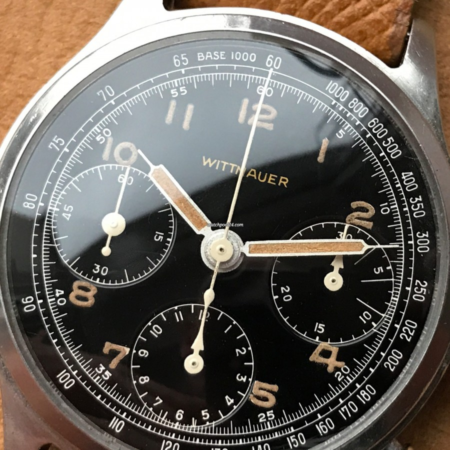 Wittnauer Chronograph Valjoux 71 Radium Lume - glossy black dial