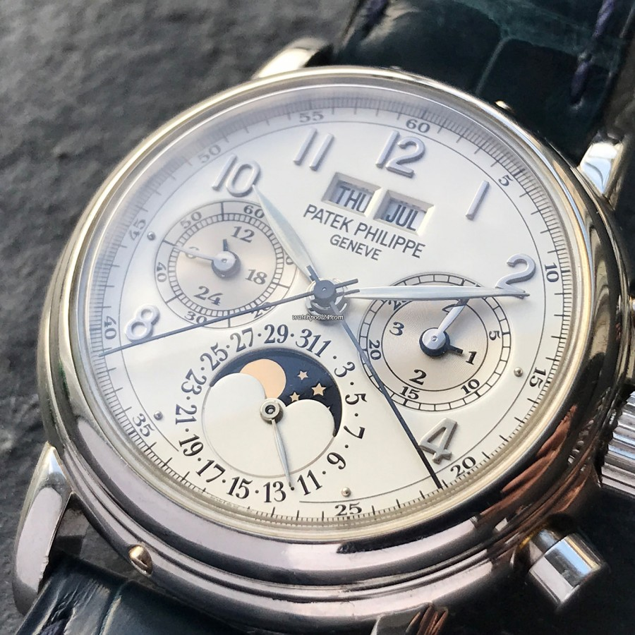 2023f5a3bd9 Feuille-hands Patek Philippe Grand Complications 5004P - clean layout of  the complicated dial
