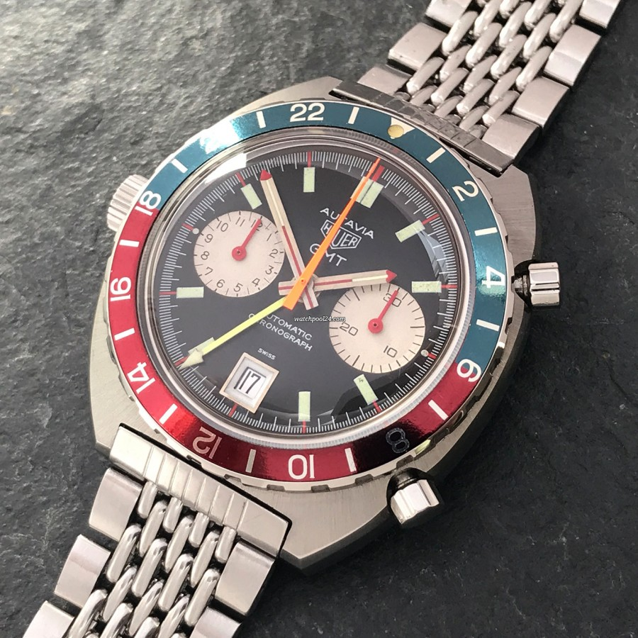 Heuer Autavia 1163 GMT Automatic MK2 - rare chronograph with a second time zone from 1970
