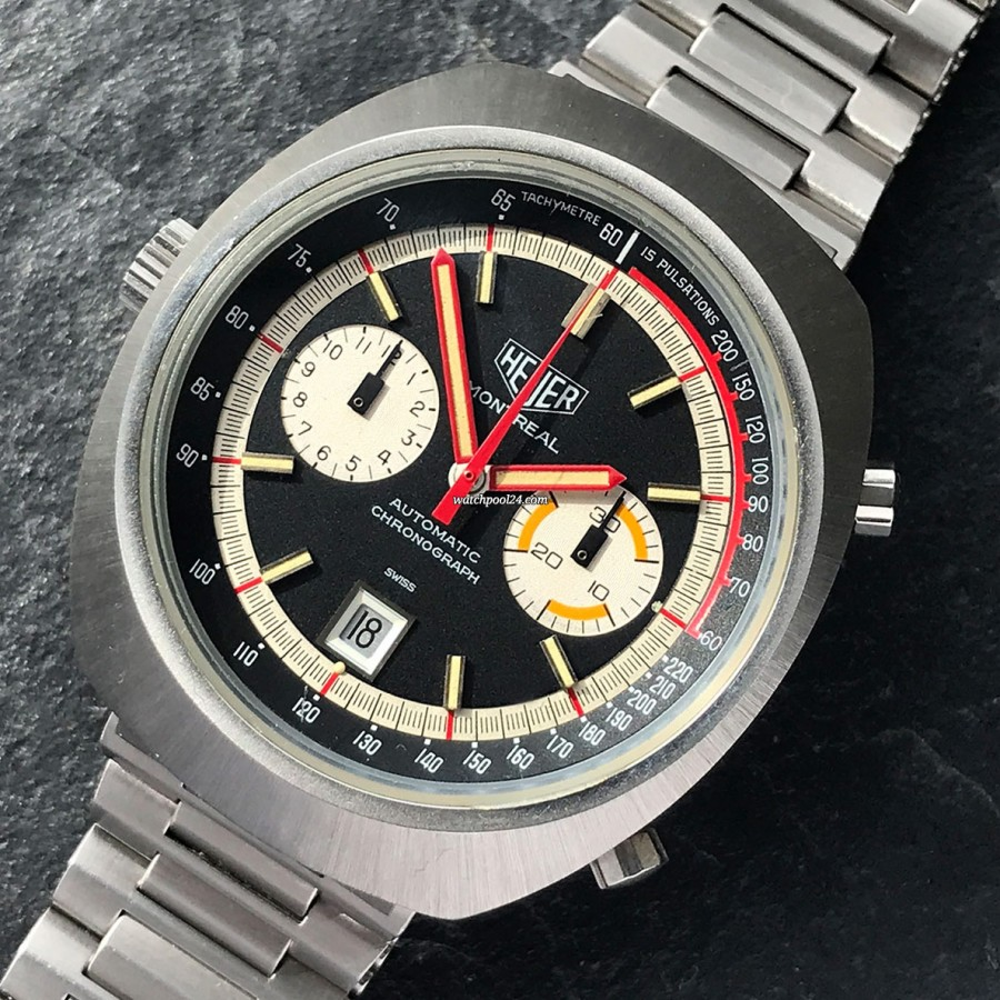 Heuer Montreal 110.503 Black Dial - a beautiful representative of the wild 1970s