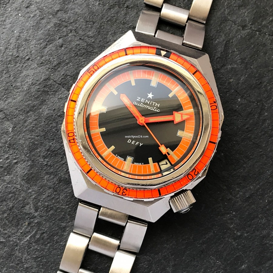 Zenith Defy A3648 Plongeur Orange Dial - professional diving watch from the early 70s