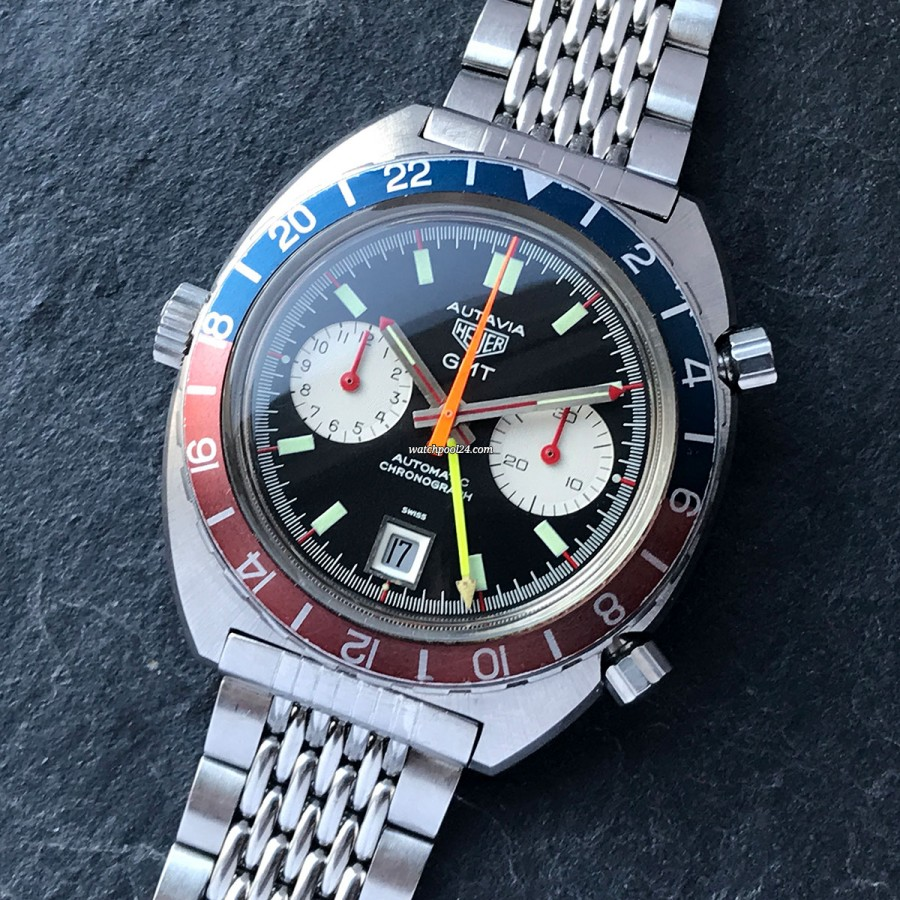 Heuer Autavia 1163 GMT red needles - a special vintage GMT chronograph from 1971