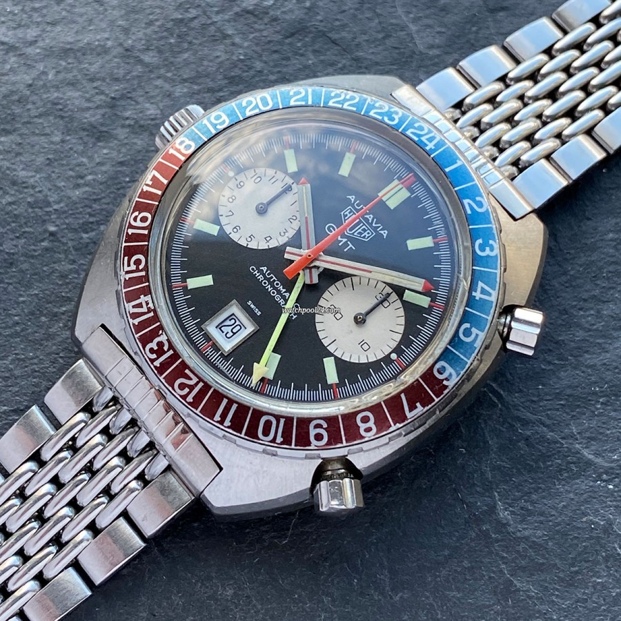 Heuer Autavia 1163 GMT Mark 1 - the first execution of the automatic Autavia GMT