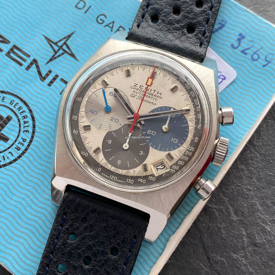 Zenith El Primero A3817 Full Set - extreme rare automatic chronograph from the 1970s