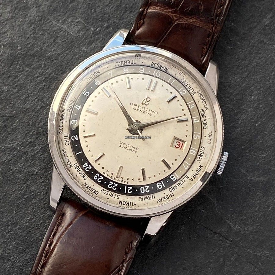 Breitling Unitime World Timer 1-260 Timezone Ring - a world time watch from 1955