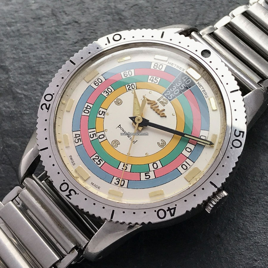 Mido Powerwind Diver 5907 Rainbow Exotic - an exotic dive watch from the early 60s