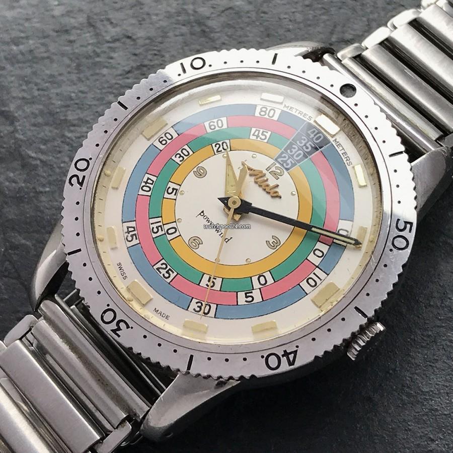 Mido Powerwind Diver 5907 Rainbow Exotic - exotische Taucheruhr aus den frühen 1960er Jahren