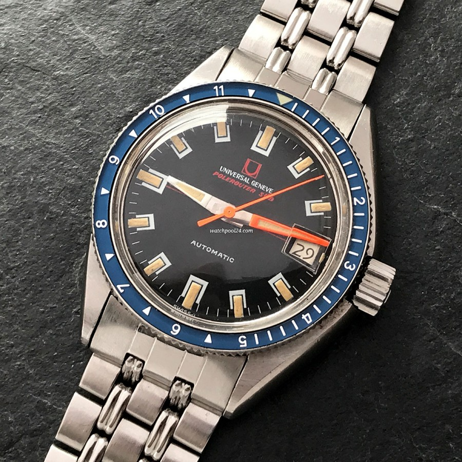 Universal Genève Polerouter Sub 869120/02 Blue Bezel - professional diving watch from 1969