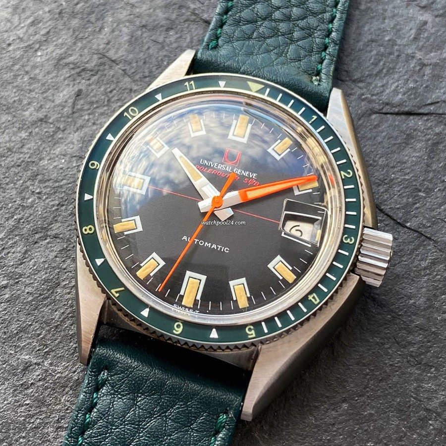 Universal Genève Polerouter Sub 869120/02 Green Bezel - diving watch from late 1960s