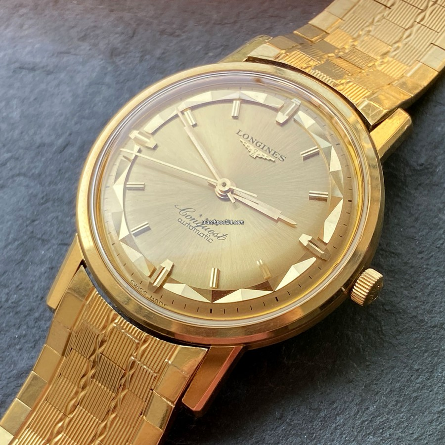 Longines Conquest 9021-12 Gold Bracelet - elegant vintage watch from 1960s