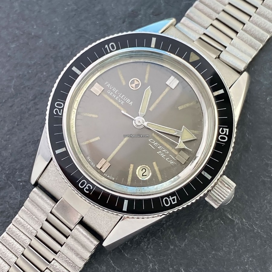 Favre Leuba Deep Blue 59603 Gray Dial - 1960s diver's wristwatch