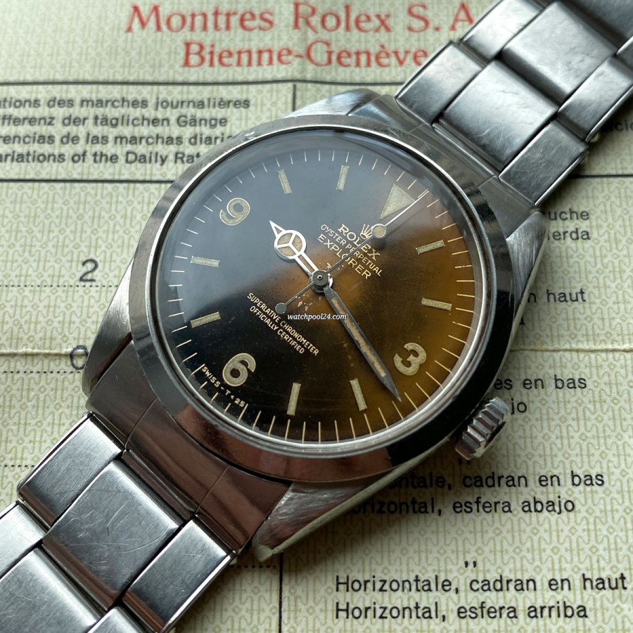 Rolex Explorer 1016 Tropical Box & Papers - a special Explorer from 1964