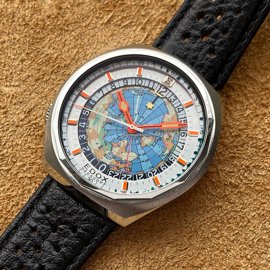 Edox Geoscope World-Timer - Box - 1970s world timer