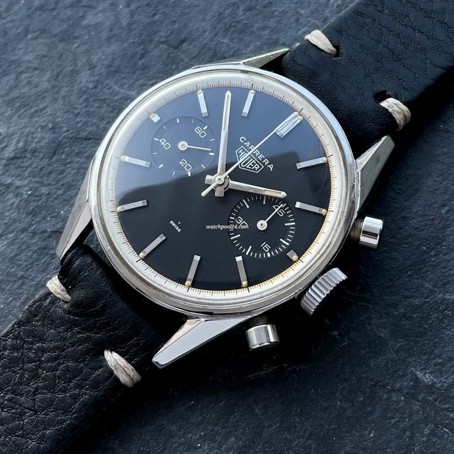 Heuer Carrera 3647 N Unpolished - rare manual wind Carrera from the 60s