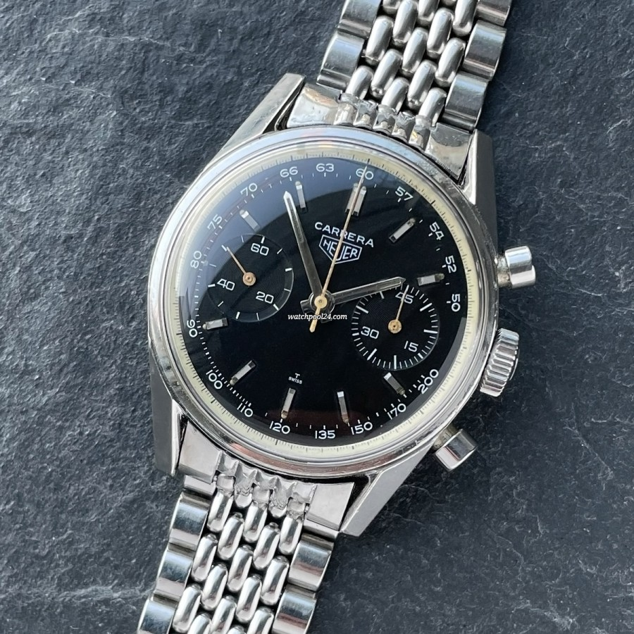 Heuer Carrera 3647 NT Unpolished Case - rare vintage chrono from the late 60s
