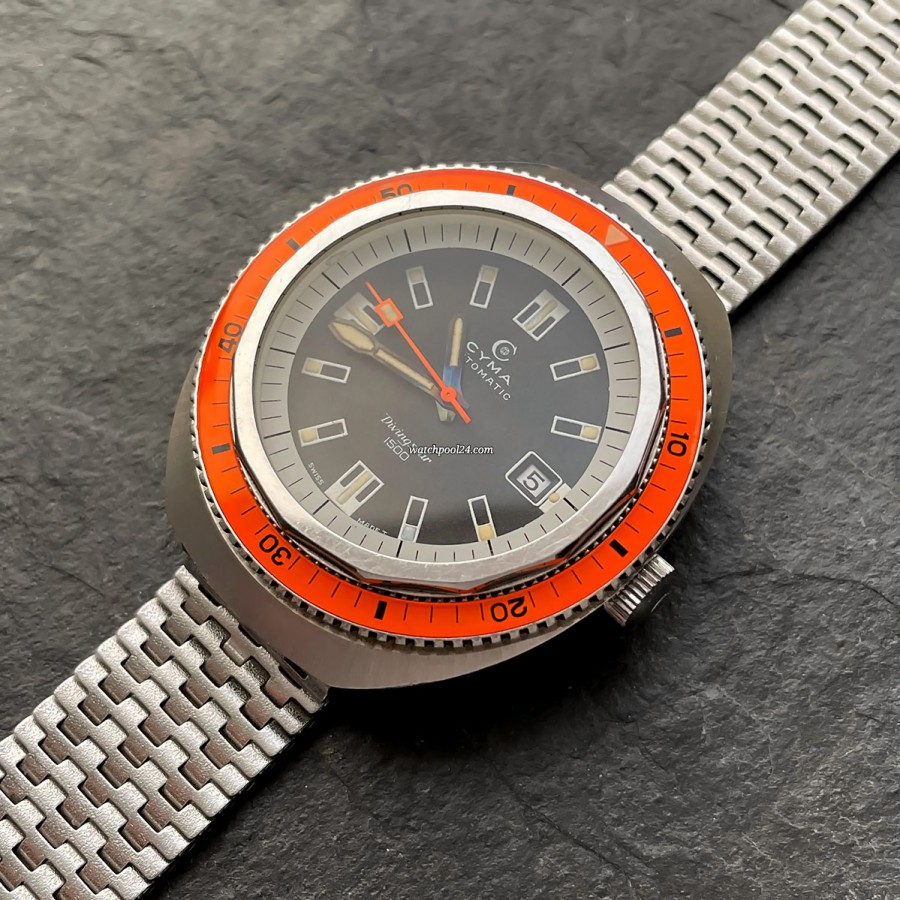 Cyma Divingstar 1500 2.804.005/531 Super-Compressor - an eye-catching diving watch from the 1970s