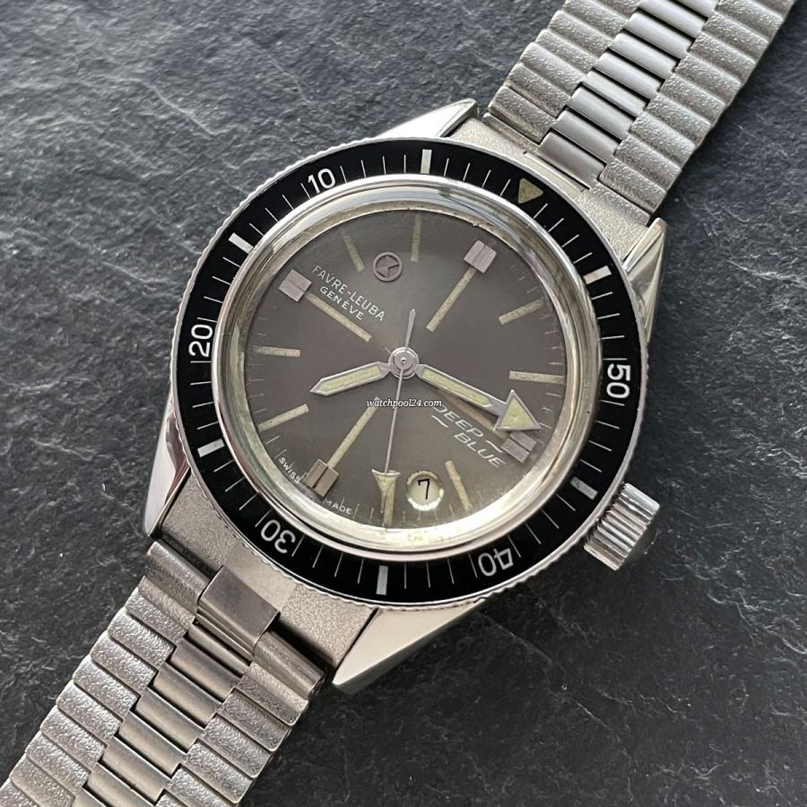 Favre Leuba Deep Blue 59603 Gray Dial - 1960er Taucheruhr