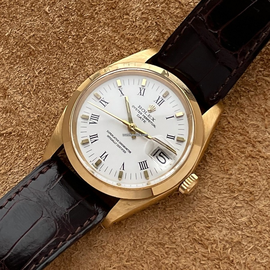 Rolex Date 1500 Papers - elegante Rolex-Armbanduhr von 1979