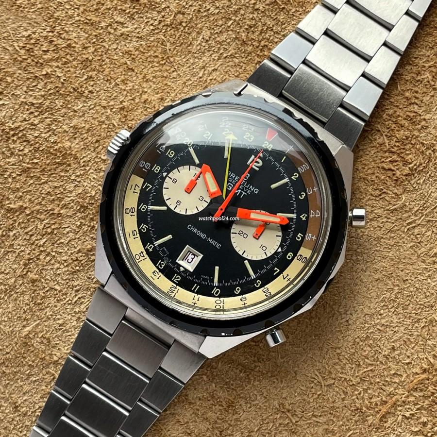 Breitling Chronomatic 2115 GMT - Original Bracelet - vintage GMT pilot's watch from 1970