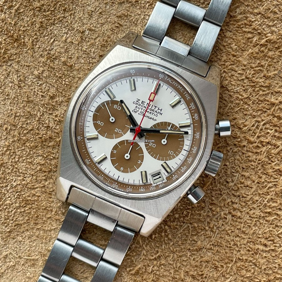 Zenith El Primero A384 Tropical - Unpolished - exceptional vintage chronograph from 1971