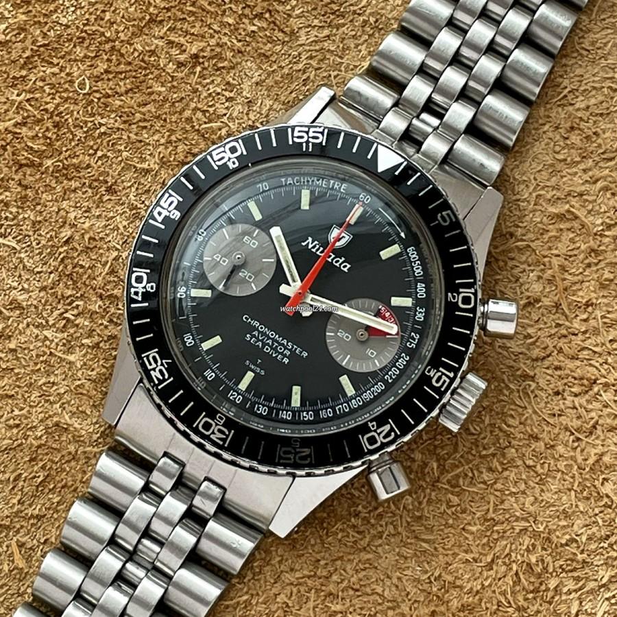 Nivada Chronomaster Aviator Sea Diver 85017 - vintage Valjoux 23 chronograph from the 60s