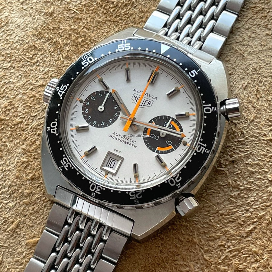 Heuer Autavia 1163 - White Orange Boy - extremely rare vintage chronograph from the 70s