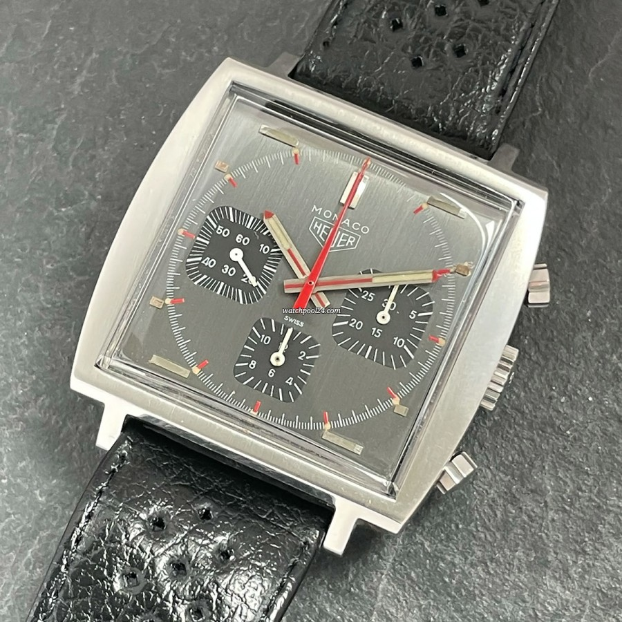 Heuer Monaco 73633 Gray Black Dial - vintage Monaco chronograph from the 70s
