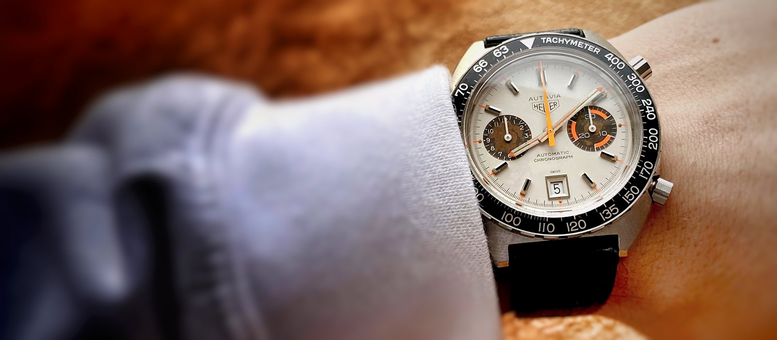 Heuer Autavia 1163 White Orange Boy